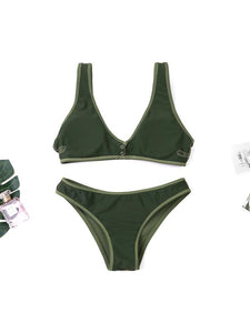 Solid Color Simple Design Two Piece Swimwear-BelleChloe-o1o.store
