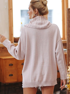Turtleneck Loose Split Casual Knitted Pullover Long Sleeve Sweaters-BelleChloe-o1o.store