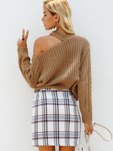 Strapless Shoulder Halter Fashion Knitted Pullover Long Sleeve Sweaters-BelleChloe-o1o.store