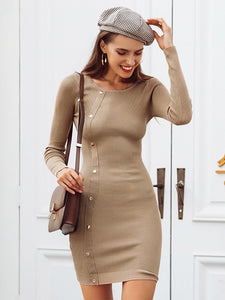 Casual Rivet Black Knitted Sweater Dress Sexy Bodycon Dresses-BelleChloe-o1o.store