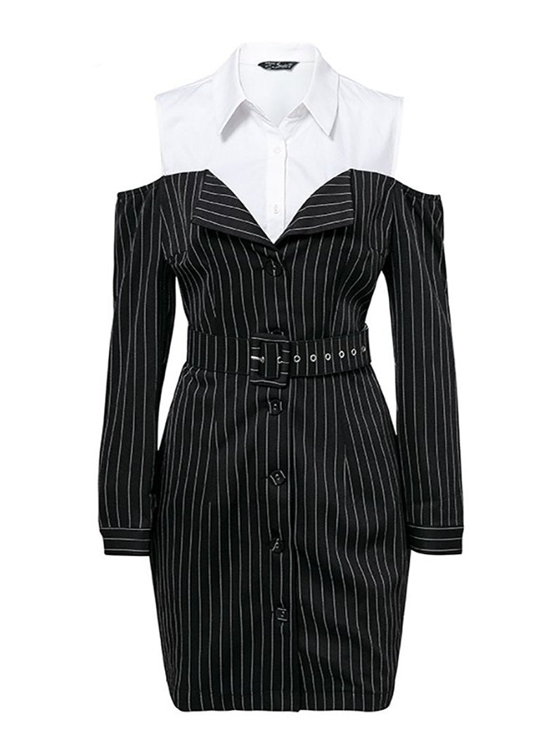 Elegant Fake Two Piece Stripe Office Lady Dress-BelleChloe-o1o.store