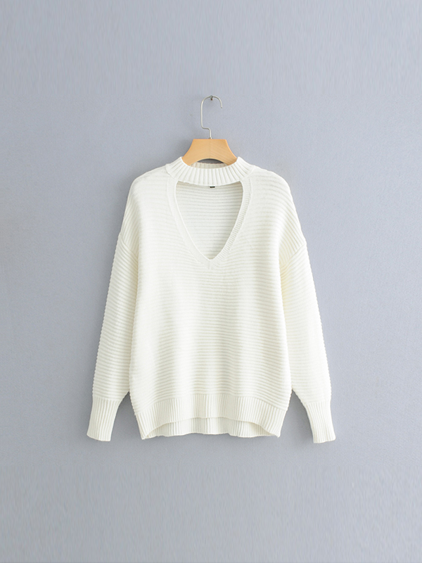 Hollow V Solid Color Fashion Knit Sweater-BelleChloe-o1o.store