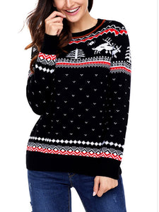 【Quality】Large Size Printed Round Collar Long Sleeve Christmas Sweater-BelleChloe-o1o.store
