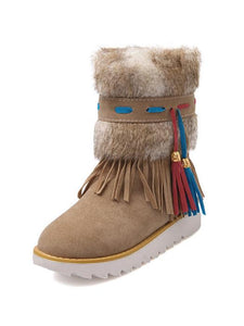 Fur Tassel Decor Flat Heel Snow Boots-BelleChloe-o1o.store