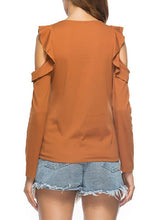 Load image into Gallery viewer, Cold Shoulder Ruffled T-Shirt-BelleChloe-o1o.store