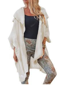 Solid Color Lapel Batwing Sleeves Casual Loose Long Cardigan-BelleChloe-o1o.store