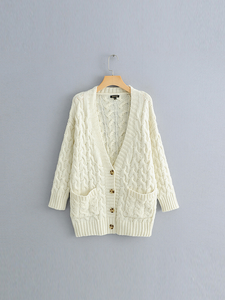 Twist Button Solid Color Knit Cardigan-BelleChloe-o1o.store
