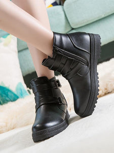 [Quality] Fashion Spring Autumn Patent PU Leather Platform Women Boots-BelleChloe-o1o.store