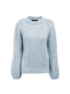 Sexy Hollow O-neck Long Sleeve Casual Pullover Loose Knitted Sweaters-BelleChloe-o1o.store