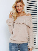 Load image into Gallery viewer, Strapless Shoulder Knitted Lantern Sleeve Pullover Sweaters-BelleChloe-o1o.store