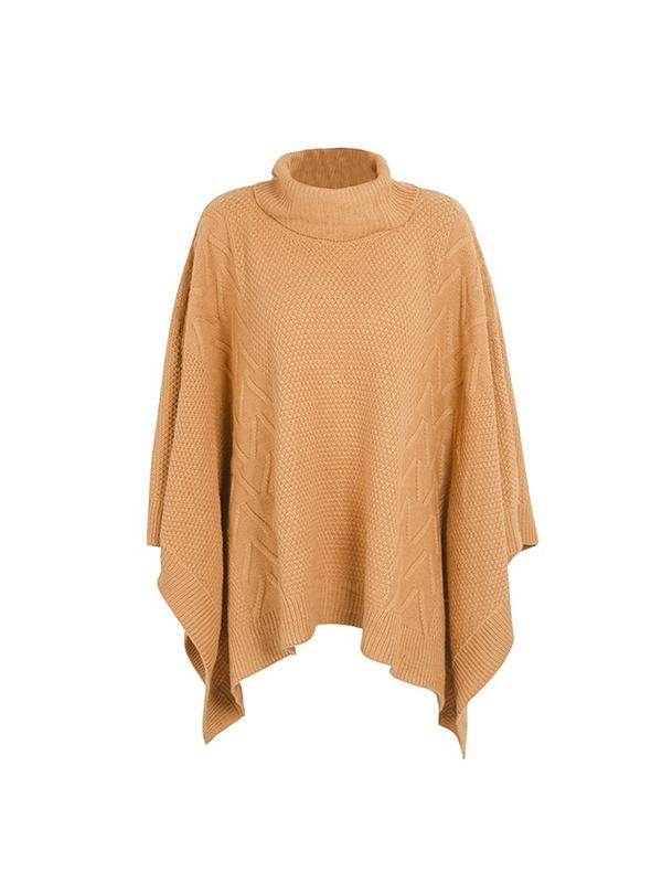 Knitted Turtleneck Pullover Capes Sweaters-BelleChloe-o1o.store