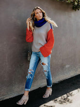 Load image into Gallery viewer, Fashion Stitching Color High Collar Loose Sleeves Casual Knit Sweater-BelleChloe-o1o.store