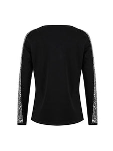 Fashion V-Neck Stitching Color Shining Long Sleeve Pullover T-shirt-BelleChloe-o1o.store