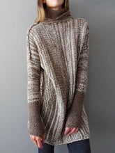 Load image into Gallery viewer, Casual Loose Color-Block High Neck Knitted Shift Sweater-BelleChloe-o1o.store