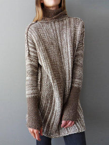 Casual Loose Color-Block High Neck Knitted Shift Sweater-BelleChloe-o1o.store