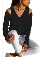Load image into Gallery viewer, 【Quality】Pure Color Knit Long-Sleeve Off-shoulder V-neck Shirt-BelleChloe-o1o.store
