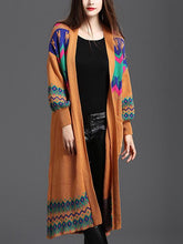 Load image into Gallery viewer, Long Lantern Sleeve Ethnic Print Cardigan Sweater-BelleChloe-o1o.store