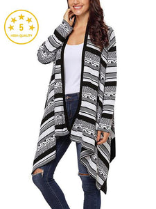 【Quality】Irregular Geometric Printed Knitted Long Sleeves Cascading Draped Front Open Cardigan-BelleChloe-o1o.store