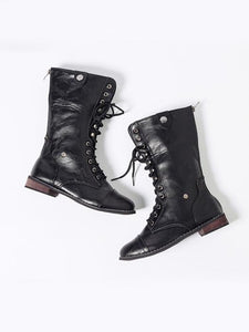 Fashionable Pu Leather Lace-Up Martin Boots-BelleChloe-o1o.store