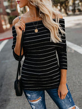 Load image into Gallery viewer, Women's Off-shoulder Casual Long Sleeve Stripe Tunic Tops Blouse-BelleChloe-o1o.store