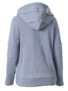 Solid Color Long Sleeve Casual Hooded Sweatshirt For Women-BelleChloe-o1o.store