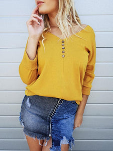 Fashion V-Neck Strapless Shoulder Casual Solid Color Button Pullover T-shirt-BelleChloe-o1o.store