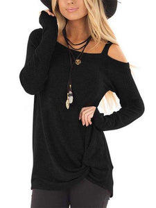 Crossed Front Design Plain One Shoulder Long Sleeves Top-BelleChloe-o1o.store