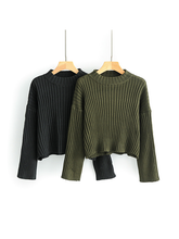 Load image into Gallery viewer, Stripe Solid Solor Sleeve Zip Loose Knit Sweater-BelleChloe-o1o.store