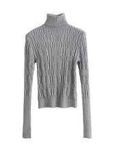 Load image into Gallery viewer, Solid Color Knit Slim High Collar Pullover Sweater-BelleChloe-o1o.store