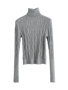 Solid Color Knit Slim High Collar Pullover Sweater-BelleChloe-o1o.store