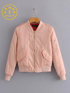 [Quality] Winter Pure Color Stand Collar Cotton Wild Baseball Jacket-BelleChloe-o1o.store