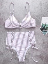 Load image into Gallery viewer, Adjustable High Waist Stripe Bandage Swimsuit-BelleChloe-o1o.store