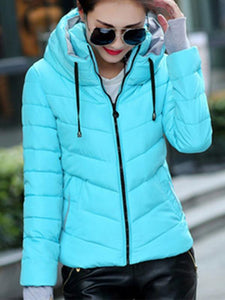 Down Cotton Short Jacket Slim Collar Warm Hooded Coat-BelleChloe-o1o.store