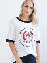 Load image into Gallery viewer, Fashion Santa Claus Print Stitching Color Casual Loose T-shirt-BelleChloe-o1o.store