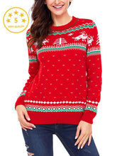 Load image into Gallery viewer, 【Quality】Large Size Printed Round Collar Long Sleeve Christmas Sweater-BelleChloe-o1o.store