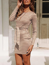 Load image into Gallery viewer, Knitted Striped Long Sleeves Tight Dress-BelleChloe-o1o.store