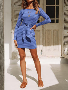Knitted Striped Long Sleeves Tight Dress-BelleChloe-o1o.store