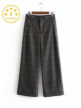 Load image into Gallery viewer, 【Quality】Plaid Wide Leg High Waist Casual Pants-BelleChloe-o1o.store