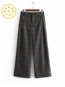 【Quality】Plaid Wide Leg High Waist Casual Pants-BelleChloe-o1o.store
