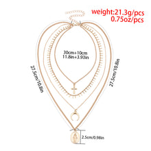 Load image into Gallery viewer, Madonna Cross Moon Pendant Multi-layer Tassel Necklace-o1o.store-o1o.store