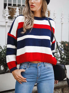 Casual Striped Knitted Cropped Pullover Sweatshirt-o1o.store-o1o.store