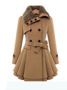 Mid-Length Woolen Coat Double-Breasted Thick Coat-BelleChloe-o1o.store