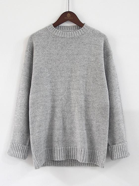 Loose Knit Round Neck Pullover Sweater-BelleChloe-o1o.store