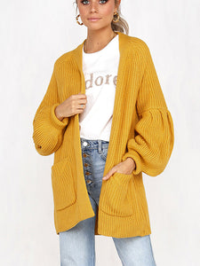 Puffed Sleeves Knitted Pockets Cardigan-o1o.store-o1o.store