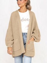 Load image into Gallery viewer, Puffed Sleeves Knitted Pockets Cardigan-o1o.store-o1o.store