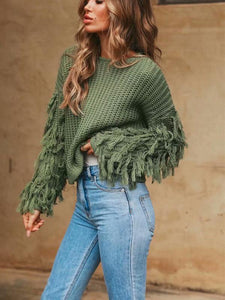 Long Sleeve Female Frings Sweater-BelleChloe-o1o.store