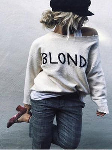 New Fashion Embroidered Blonde Round Collar Angora Loosee Sweater-BelleChloe-o1o.store