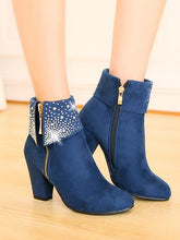 Load image into Gallery viewer, Crystal Decor Zipped Women'S Ankle Boots-BelleChloe-o1o.store
