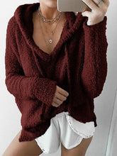 Load image into Gallery viewer, Mohair Hood Drawstring Velvet Sweater-BelleChloe-o1o.store