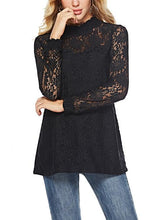 Load image into Gallery viewer, [Quality] Half-High Collar Long-Sleeved Loose Lace Top-BelleChloe-o1o.store